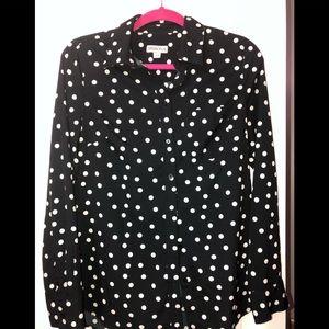 Merona Black & White Polka Dot Shirt